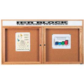 """Aarco 2 Door Oak Enclosed Bulletin Board w/ Header - 72""""W x 36""""H"""