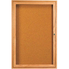 "1 Door Oak Enclosed Bulletin Board - 36""W x 48""H"