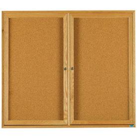 """Aarco 2 Door Oak Enclosed Bulletin Board - 60""""W x 48""""H"""