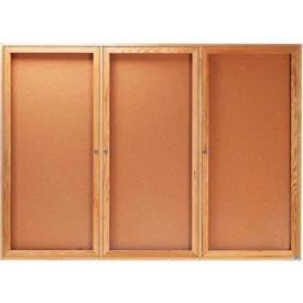 """Aarco 3 Door Oak Enclosed Bulletin Board - 72""""W x 48""""H"""