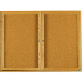 "Aarco 2 Door Oak Enclosed Bulletin Board - 72""W x 48""H"