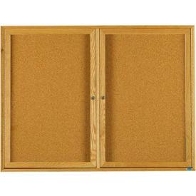 """Aarco 2 Door Oak Enclosed Bulletin Board - 72""""W x 48""""H"""