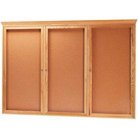 """Aarco 3 Door Red Oak Bulletin Board w/ Crown Molding - 72""""W x 48""""H"""
