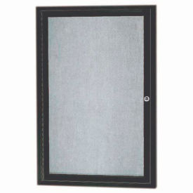 "Aarco 1 Door Aluminum Framed Enclosed Bulletin Board Bronze Anod. - 18""W x 24""H"