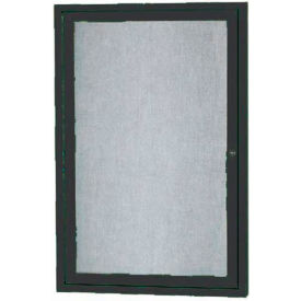 "Aarco 1 Door Aluminum Framed Enclosed Bulletin Board Black Powder Coat - 18""W x 24""H"
