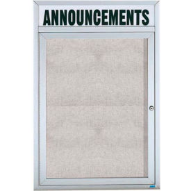"Aarco 1 Door Enclosed Aluminum Framed Bulletin Board w/ Header - 18""W x 24""H"