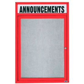 "Aarco 1 Door Enclosed Alum Framed Bulletin Board w/ Header, Illum Red Pc - 18""W x 24""H"