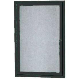 "Aarco 1 Door Alum Framed Illum Enclosed Bulletin Board Black Powder Coat - 18""W x 24""H"