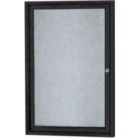 "Aarco 1 Door Aluminum Framed Enclosed Bulletin Board Black Powder Coat - 24""W x 36""H"