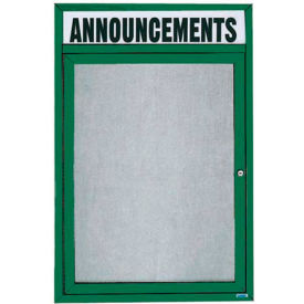 "Aarco 1 Door Enclosed Alum Framed Bulletin Board w/ Header Green Pc - 24""W x 36""H"
