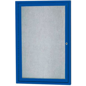 "Aarco 1 Door Alum Framed Illum Enclosed Bulletin Board Blue Powder Coat - 24""W x 36""H"