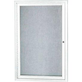 "Aarco 1 Door Aluminum Framed Enclosed Bulletin Board White Powder Coat - 24""W x 36""H"