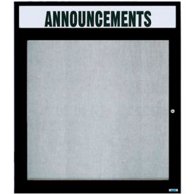 "Aarco 1 Door Enclosed Alum Framed Bulletin Board w/ Header Black Pc - 30""W x 36""H"