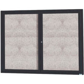 "Aarco 2 Door Aluminum Framed Enclosed Bulletin Board Black Powder Coat - 48""W x 36""H"