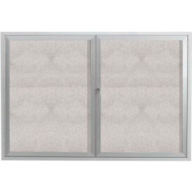 "Aarco 2 Door Alum Framed Illum Enclosed Bulletin Board - 48""W x 36""H"