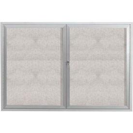 "Aarco 2 Door Alum Framed Illum Enclosed Bulletin Board - 48""W x 36""H"