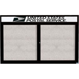 "Aarco 2 Door Enclosed Alum Framed Bulletin Board w/ Header Black Pc - 60""W x 36""H"