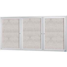 "Aarco 3 Door Alum Framed Illum Enclosed Bulletin Board - 72""W x 36""H"