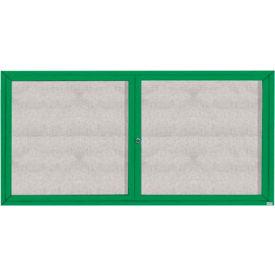"Aarco 2 Door Aluminum Framed Enclosed Bulletin Board Green Powder Coat - 72""W x 36""H"