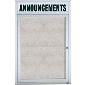 "Aarco 1 Door Enclosed Aluminum Framed Bulletin Board w/ Header - 36""W x 48""H"