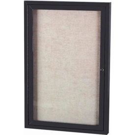 "Aarco 1 Door Alum Framed Illum Enclosed Bulletin Board Black Powder Coat - 36""W x 48""H"