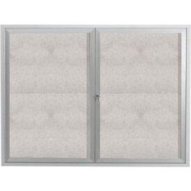 "Aarco 2 Door Aluminum Framed Enclosed Bulletin Board - 60""W x 48""H"