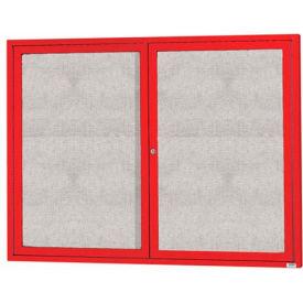 "Aarco 2 Door Alum Framed Illum Enclosed Bulletin Board Red Powder Coat - 60""W x 48""H"