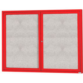 "Aarco 2 Door Aluminum Framed Enclosed Bulletin Board Red Powder Coat - 60""W x 48""H"