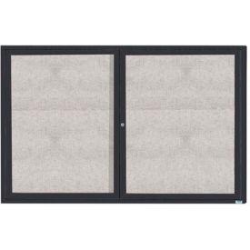 "Aarco 2 Door Aluminum Framed Enclosed Bulletin Board Bronze Anod. - 72""W x 48""H"