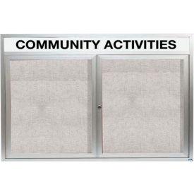 "Aarco 2 Door Enclosed Alum Framed Bulletin Board w/ Header, Illuminated - 72""W x 48""H"