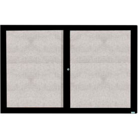 "Aarco 2 Door Alum Framed Illum Enclosed Bulletin Board Black Powder Coat - 72""W x 48""H"