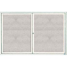 "Aarco 2 Door Aluminum Framed Enclosed Bulletin Board White Powder Coat - 72""W x 48""H"
