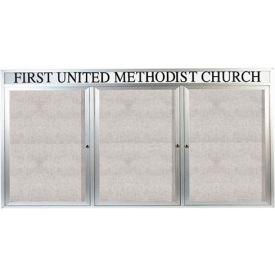 "Aarco 3 Door Enclosed Alum Framed Bulletin Board w/ Header, Illuminated - 96""W x 48""H"