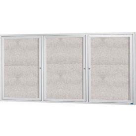 "Aarco 3 Door Alum Framed Illum Enclosed Bulletin Board - 96""W x 48""H"