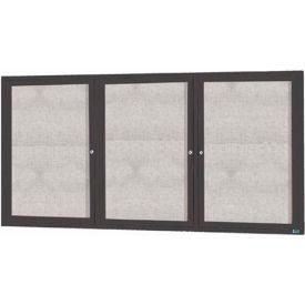 "Aarco 3 Door Alum Framed Illum Enclosed Bulletin Board Bronzed Anod. - 96""W x 48""H"