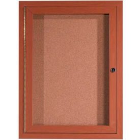 "Aarco 1 Door Aluminum Frame Wood Look, Oak Enclosed Bulletin Board - 18""W x 24""H"