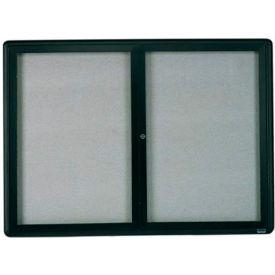 "Aarco 2 Door Design Enclosed Bulletin Board Graphite - 48""W x 36""H"