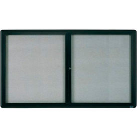 "Aarco 2 Door Design Enclosed Bulletin Board Graphite - 60""W x 36""H"