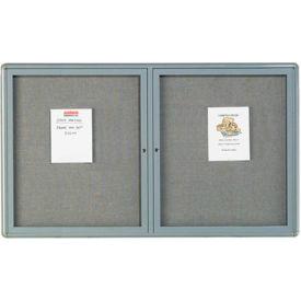 """Aarco 2 Door Design Enclosed Bulletin Board Medium Grey - 60""""W x 36""""H"""