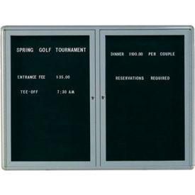 "Aarco 2 Door Design Enclosed Letter Board Medium Grey - 48""W x 36""H"