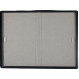 "Aarco 2 Door Radius Design Bulletin Board w/ Tempered Glass Medium Grey - 60""W x 36""H"