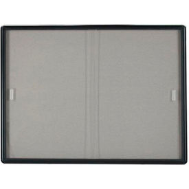 "Aarco 2 Door Radius Design Bulletin Board w/ Tempered Glass Medium Grey - 72""W x 36""H"
