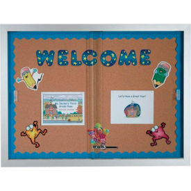 """Aarco 2 Door Aluminum Framed Bulletin Boards w/ Sliding Door - 48""""W x 36""""H"""