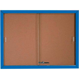 "Aarco 2 Door Aluminum Framed Bulletin Boards w/ Sliding Door Blue Pc - 48""W x 36""H"