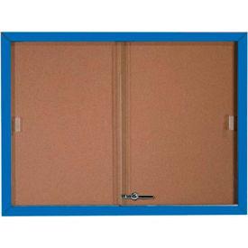 """Aarco 2 Door Aluminum Framed Bulletin Boards w/ Sliding Door Blue Pc - 48""""W x 36""""H"""