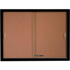"""Aarco 2 Door Aluminum Framed Bulletin Boards w/ Sliding Door Black Pc - 48""""W x 36""""H"""