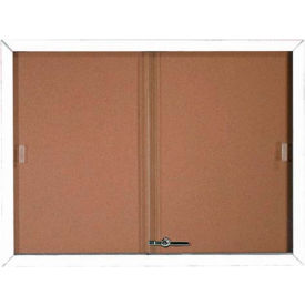 """Aarco 2 Door Aluminum Framed Bulletin Boards w/ Sliding Door White Pc - 48""""W x 36""""H"""