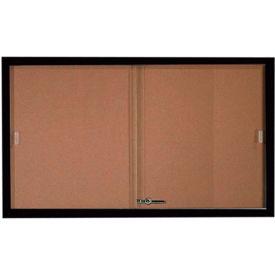 """Aarco 2 Door Aluminum Framed Bulletin Boards w/ Sliding Door Black Pc - 60""""W x 36""""H"""