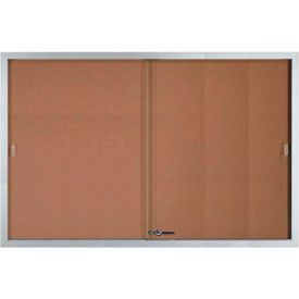 """Aarco 2 Door Aluminum Framed Bulletin Boards w/ Sliding Door - 72""""W x 48""""H"""
