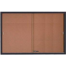 """Aarco 2 Door Aluminum Framed Bulletin Boards w/ Sliding Door Black Pc - 72""""W x 48""""H"""